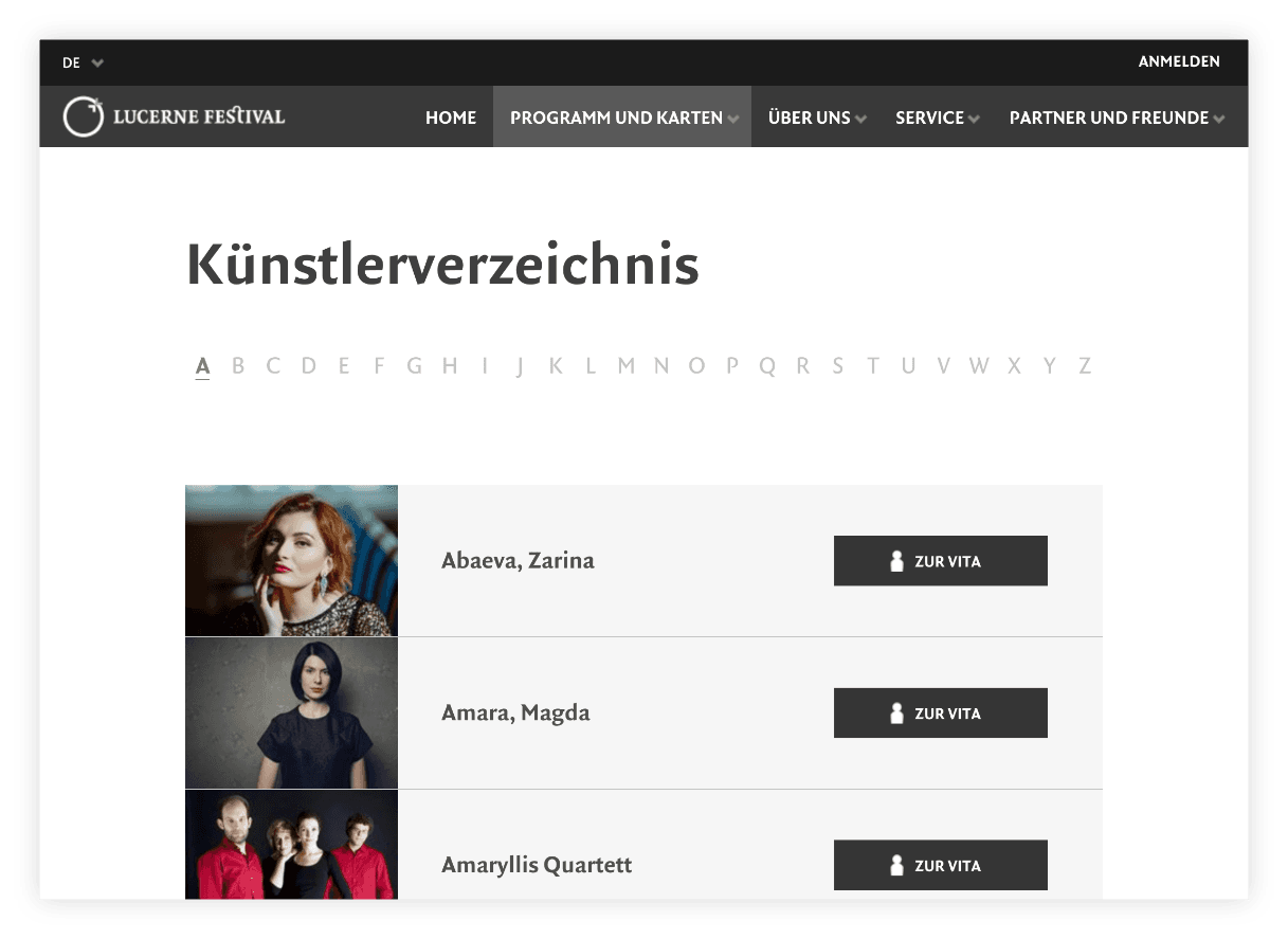 Künstlerverzeichnis  –  Lucerne Festival | Design, Mobile-First, Relaunch, Redesign, User-Experience Workshop, Responsive, Personas-Modellierung, Django, Django Framework, User Centered Design