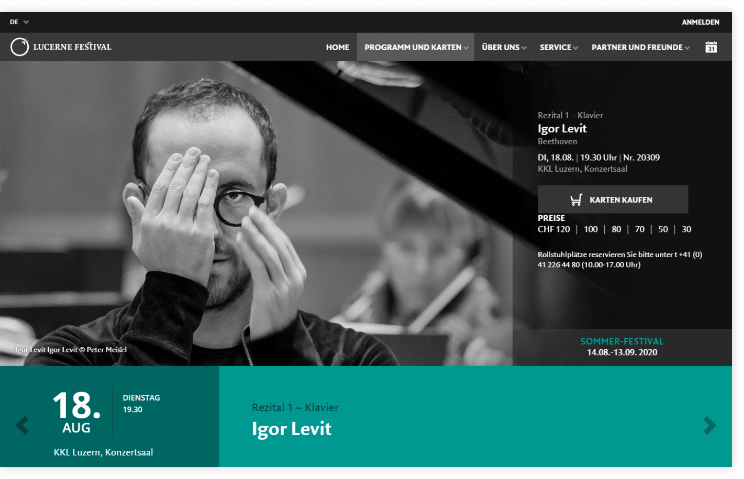 Konzert Detailansicht  –  Lucerne Festival | Design, Mobile-First, Relaunch, Redesign, User-Experience Workshop, Responsive, Personas-Modellierung, Django, Django Framework, User Centered Design
