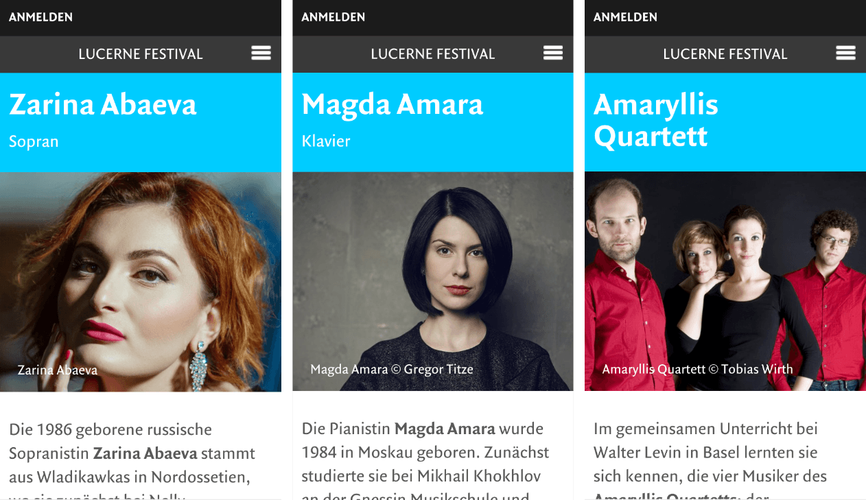 Künstlerprofile  –  Lucerne Festival | Design, Mobile-First, Relaunch, Redesign, User-Experience Workshop, Responsive, Personas-Modellierung, Django, Django Framework, User Centered Design
